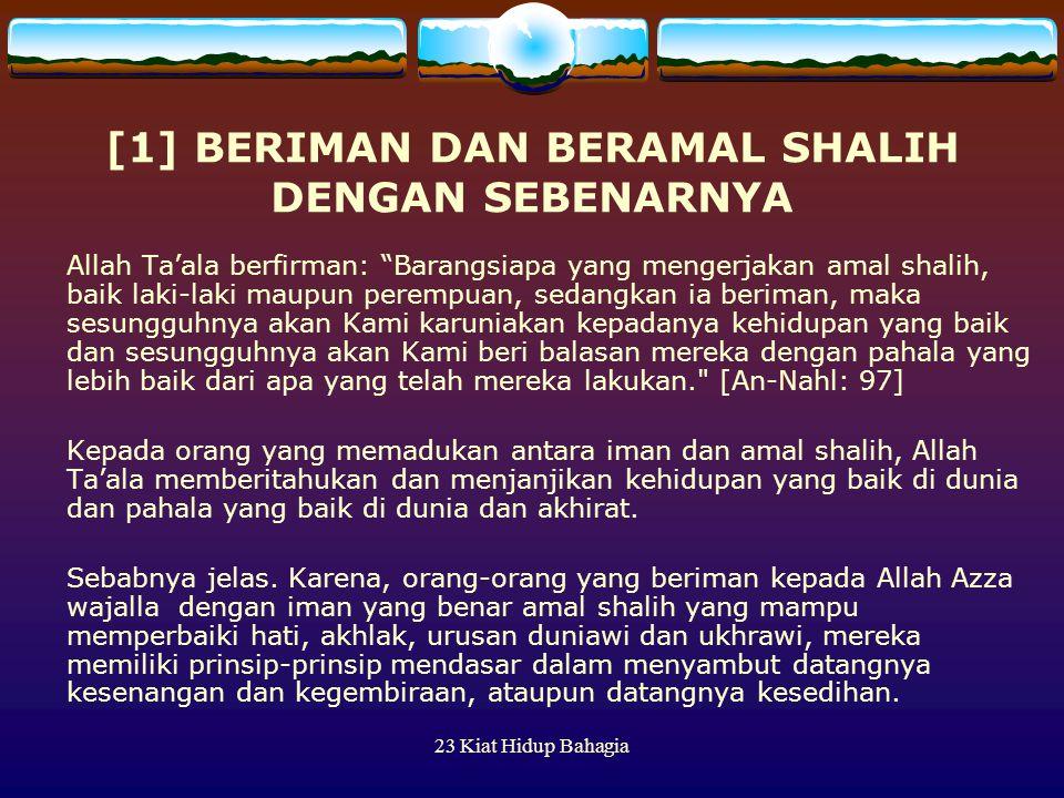 [1] BERIMAN DAN BERAMAL SHALIH DENGAN SEBENARNYA